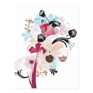 Mohnblumen und Rosen Postkarte