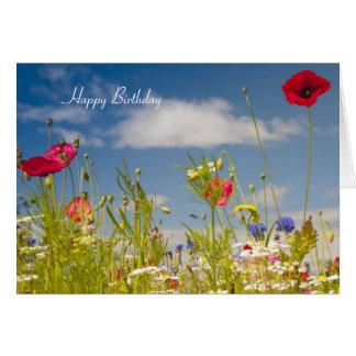 Mohnblumen-und Wildblumen-Geburtstags-Karte Karte