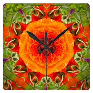 Mohnblumen-Wanduhr Quadratische Wanduhr