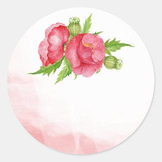 Mohnblumewatercolor-Gastgeschenk Runder Aufkleber