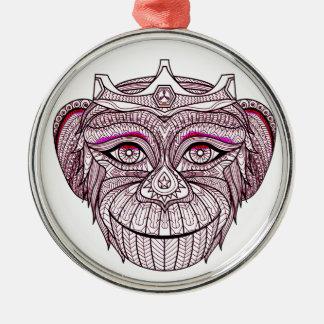 Mokeys Kopf 1 Silbernes Ornament