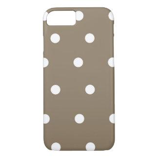 Mokka-brauner und weißer Tupfen-Telefon-Kasten iPhone 8/7 Hülle