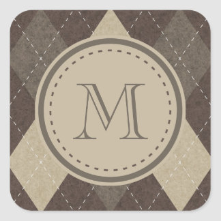 Mokka Chocca Brown Raute mit Monogramm Quadratischer Aufkleber