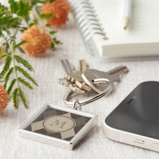 Mokka Chocca Brown Raute mit Monogramm Silberfarbener Quadratischer Schlüsselanhänger