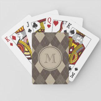 Mokka Chocca Brown Raute mit Monogramm Spielkarten