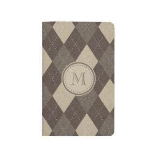 Mokka Chocca Brown Raute mit Monogramm Taschennotizbuch