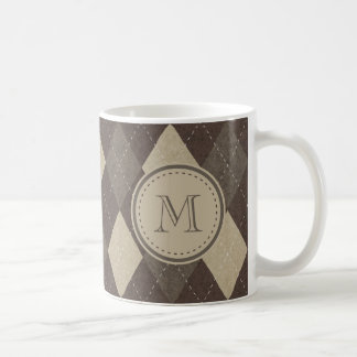 Mokka Chocca Brown Rauten-Muster mit Monogramm Kaffeetasse
