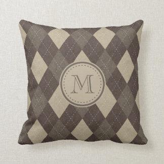 Mokka Chocca Brown Rauten-Muster mit Monogramm Kissen