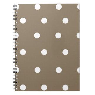 Mokka und weißer Tupfen-gewundenes Notizbuch Spiral Notizblock