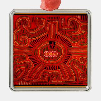 Mola-Entwurf durch amerikanischen Ureinwohner Sans Silbernes Ornament