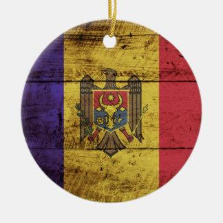 Moldau-Flagge auf altem hölzernem Korn Rundes Keramik Ornament
