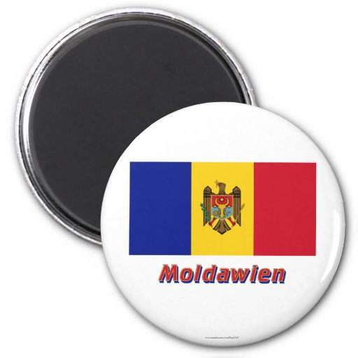 Moldawien Flagge MIT Namen Magnets