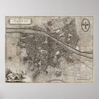 Molini Taschen-Karte 1847 von Florenz Italien Poster