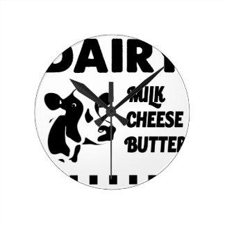 Molkerei frisch, Milchkäsebutter Runde Wanduhr