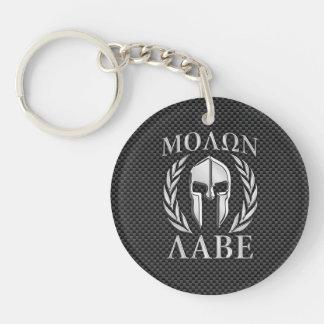 Molon Labe Chrom-Art-spartanische Beidseitiger Runder Acryl Schlüsselanhänger