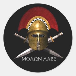 Molon Labe spartanischer Schädel Runde Aufkleber