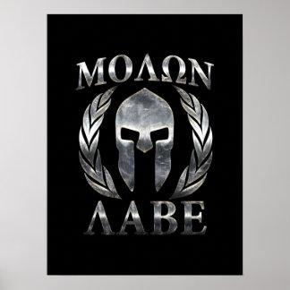 Molon Labe spartanischer Stahlsturzhelm Poster