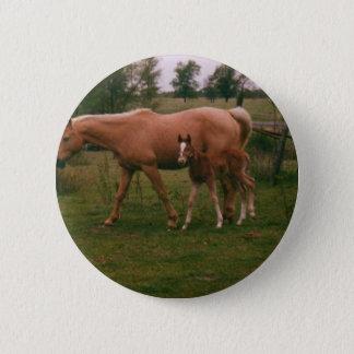 Moma Pferd und Babypferd Runder Button 5,7 Cm