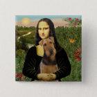 Mona Lisa - Airedale Terrier (#1) Quadratischer Button 5,1 Cm