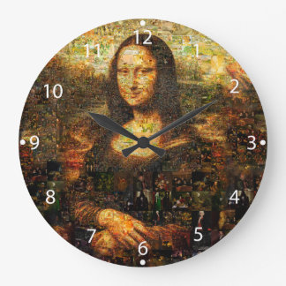Mona Lisa Collage - Mona Lisa Mosaik - Mona Lisa Große Wanduhr