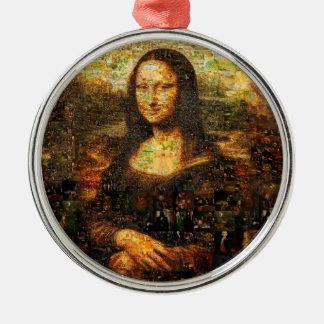 Mona Lisa Collage - Mona Lisa Mosaik - Mona Lisa Rundes Silberfarbenes Ornament