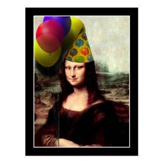 Mona Lisa Geburtstags-Party-Hut Postkarte