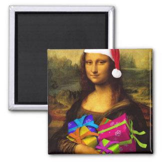Mona Lisa kommt als Weihnachtsmann Quadratischer Magnet