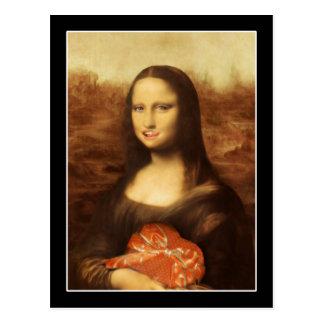 Mona Lisa mag die Süßigkeit des Valentinsgrußes Postkarte