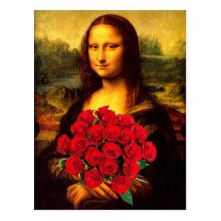 Mona Lisa mit Blumenstrauß der Roter Rosen Postkarte