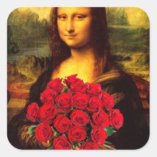 Mona Lisa mit Blumenstrauß der Roter Rosen Quadratischer Aufkleber