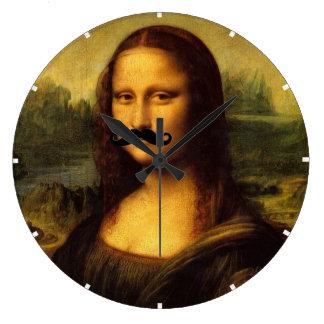 Mona Lisa mit dem Schnurrbart Große Wanduhr