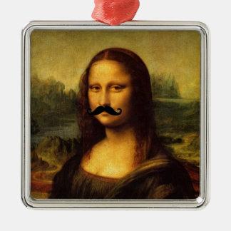 Mona Lisa mit dem Schnurrbart Silbernes Ornament