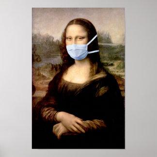 Mona Lisa mit Maske Da Vinci Spoofing die Künste Poster