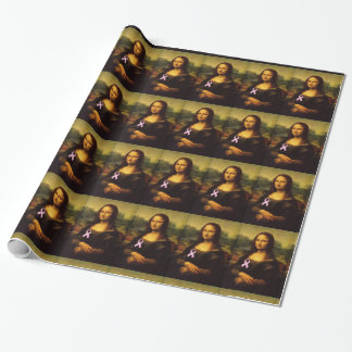 Mona Lisa mit rosa Band Geschenkpapier