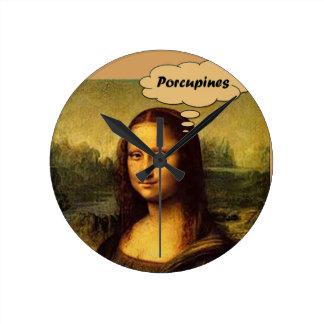 Mona Lisa Stachelschweine Runde Wanduhr