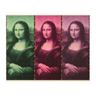 Mona Lisa Tierdruck-Grün-Rosa lila Holzleinwand