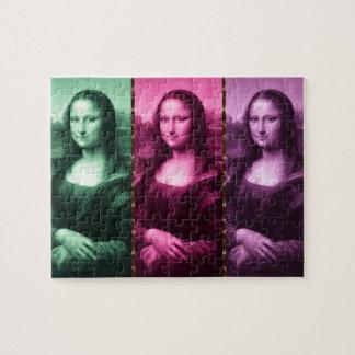 Mona Lisa Tierdruck-Grün-Rosa lila Puzzle