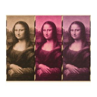 Mona Lisa Tierdruck-lila rosa Schokolade Holzleinwand