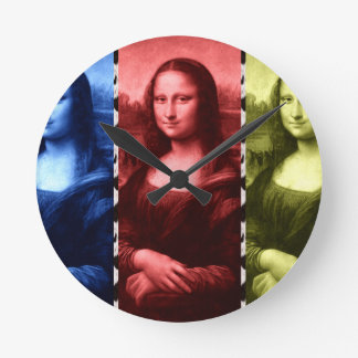 Mona Lisa Tierdruck-Primärfarben Runde Wanduhr