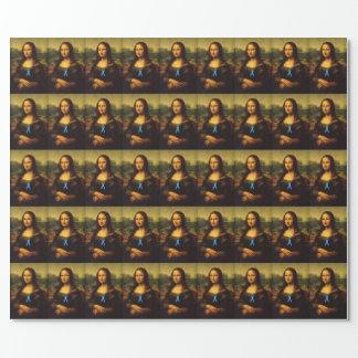 Mona Lisa trägt blaues Band Geschenkpapier