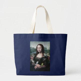 Mona Lisa u. Budgies Jumbo Stoffbeutel