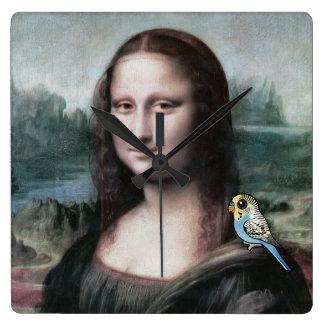 Mona Lisa u. Budgies Quadratische Wanduhr