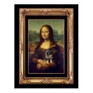 Mona Lisa und ihr Rottweiler Postkarte