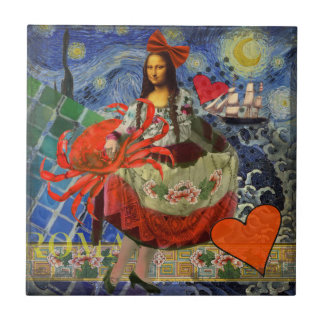Mona Lisa und Krabbe Keramikfliese