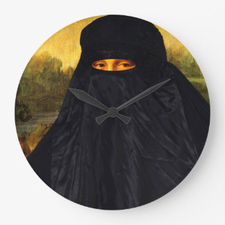 Mona Lisa versteckt hinter Burqa Große Wanduhr