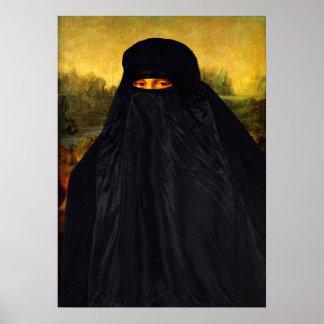 Mona Lisa versteckt hinter Burqa Poster