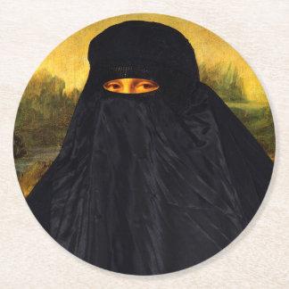 Mona Lisa versteckt hinter Burqa Runder Pappuntersetzer