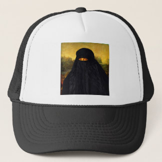 Mona Lisa versteckt hinter Burqa Truckerkappe