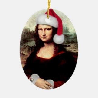 Mona Lisas WeihnachtsWeihnachtsmannmütze Ovales Keramik Ornament