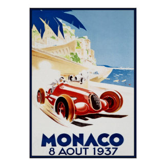 Monaco 1937, Vintag Kunst Poster